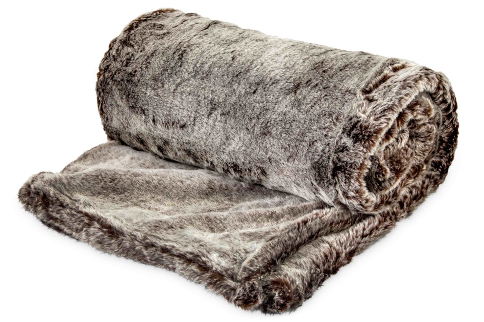 Authentic faux fur two tone grey brown thick super soft for Soft blankets and throws